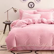 Light pink solid crystal cashmere duvet cover set pompom bedding pillowcases warm bed sheet queen king size bedding set winter(China (Mainland))
