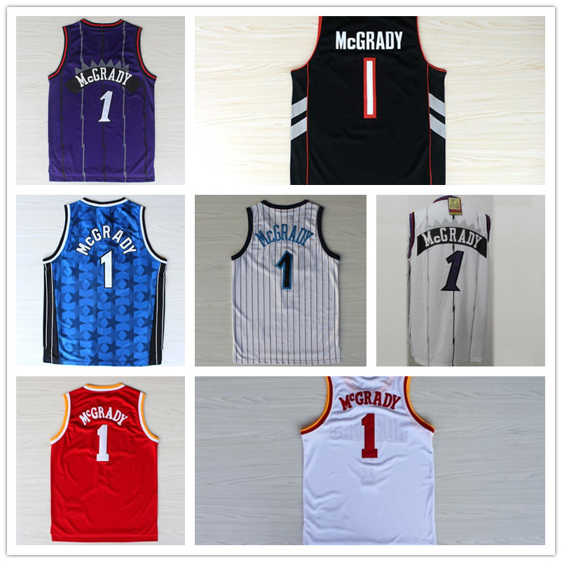 Гаджет  Free Shipping Tracy McGrady #1 Basketball Jersey, Wholesales High Quality Embroidery Logos Retro Basketball Jerseys None Спорт и развлечения