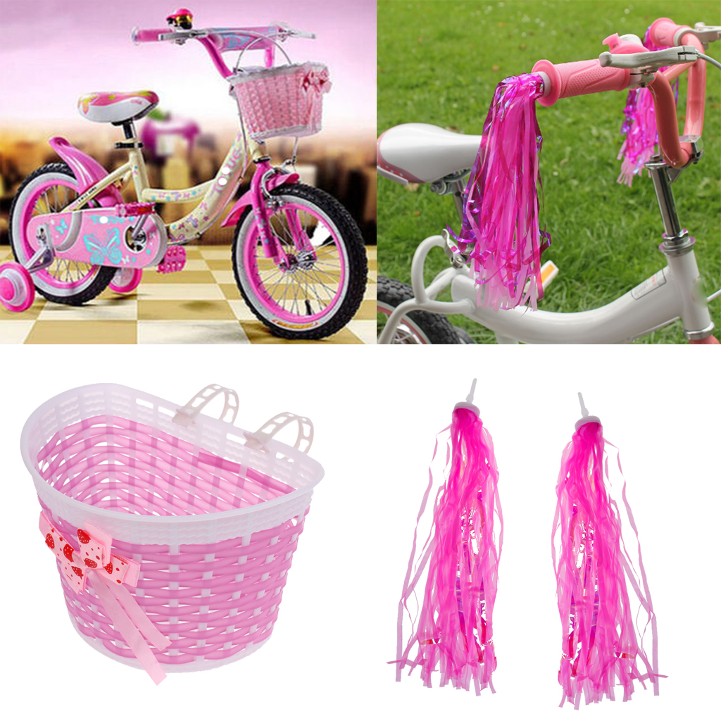 Children Kids Girls Bike Scooter Front Streamers Handlebar Bell Basket Blue