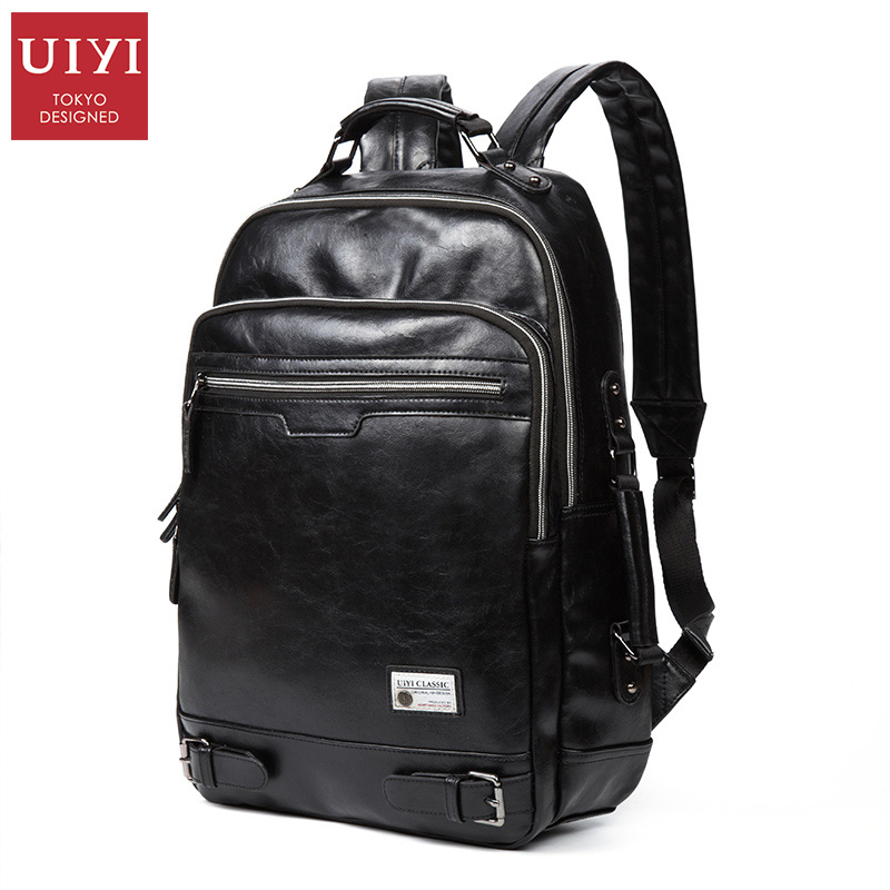 UIYI Men's New Black leather shoulder backpack PU soft leather Male Backpack Leisure Men Zipper 14-inch Laptop Bags Multi-pocket(China (Mainland))