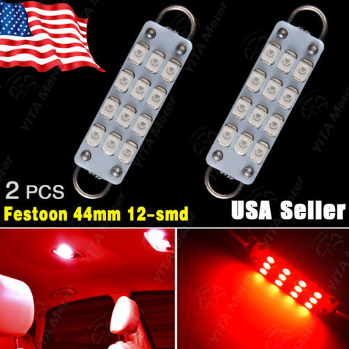 "Free Shipping LED Car Light 2Pcs RED 44mm 1.73"" 12SMD Festoon Rigid Loop LED Bulb Interior Light 561 562 563 Car led -A(China (Mainland))"