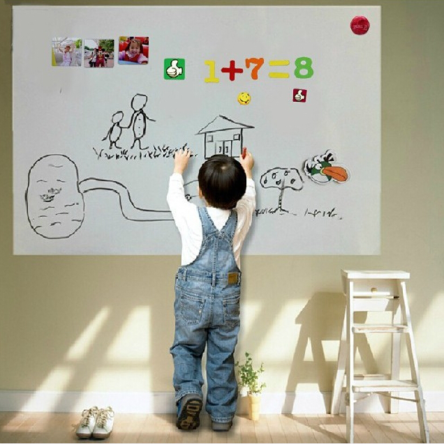 60*100cm 0.63mm Flexible Soft Kids Magnetic Whiteboard Wall Sticker Sheets Portable erasable white board for Children Office(China (Mainland))