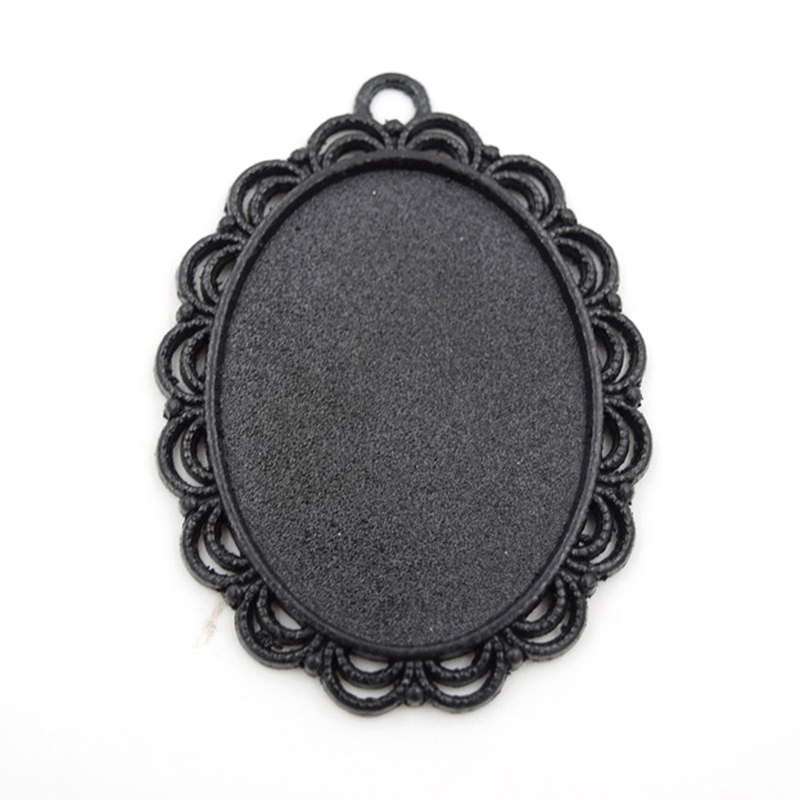 Black Trays Blanks Fit 40x30mm Cabochon 10Pcs/Lot DIY Plated Oval Tray Cameo Base Setting Charms Pendant Jewelry Accessories(China (Mainland))