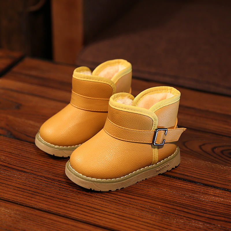 2016 New Winter for child kid girl boy snow boots comfort thick antislip short boots elastic band leather cotton-padded shoes(China (Mainland))