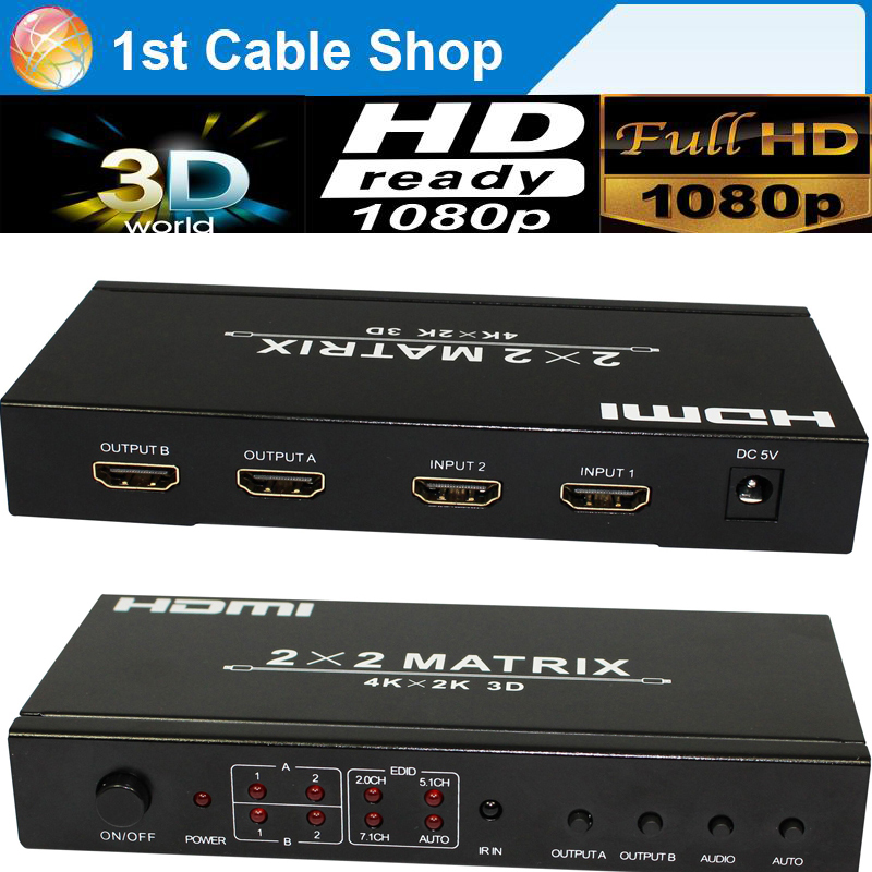 Free shipping 1PCS HDMI matrix 2X2 HDMI Switcher splitter with remote control 3D&full HD1080p supported(China (Mainland))