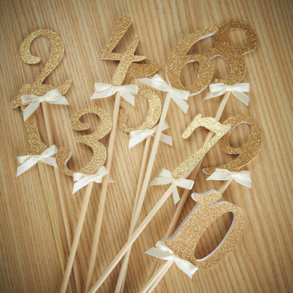 1pcs numbers on sticks glitter number centerpiece birthday for Glitter numbers for centerpieces