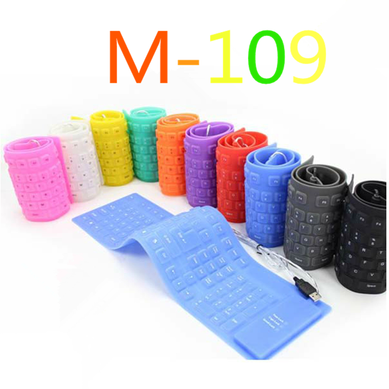 2015 Arrival M-109 Folding Soft Flexible Silicone Keyboard Waterproof Mute Portable Multicolour Wired Keyboard for laptop PC(China (Mainland))