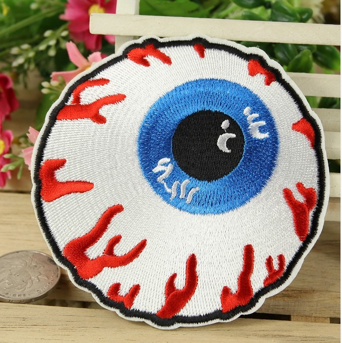 ---N0 316 design horror Eyes sponge Embroidered patches glue, iron-on /sew-on girls cloth garment shoes - kele clothing &accessory store
