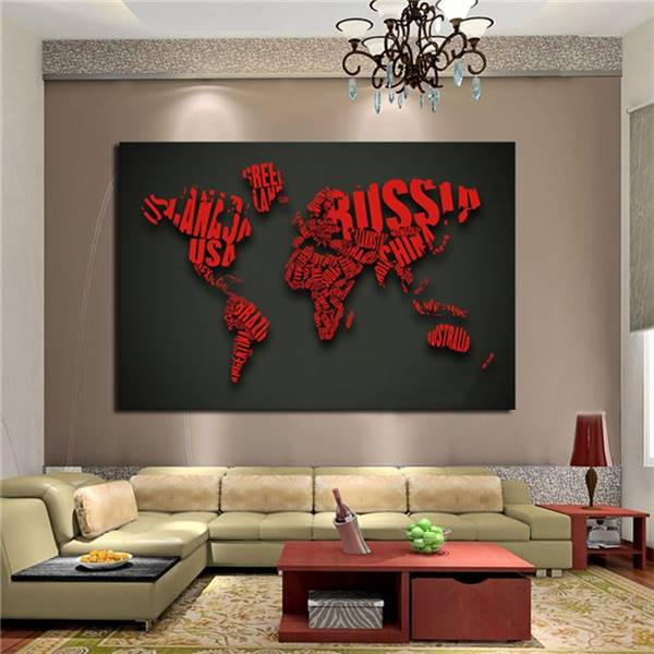 1 piece picture art red map letter modern home decor for Modern home decor paintings