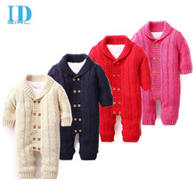 Baby Boy Clothes Knitting Baby Rompers Winter Christmas Thicken Hooded Warm Baby Clothes Roupas Bebe JY0137(China (Mainland))