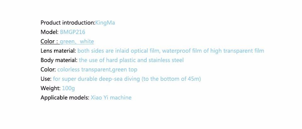 KingMa Original Xiaomi Yi Camera Waterproof Case, Mi Yi 40M Diving Sports Waterproof Box, Yi Action Camera aksesoris Accessories