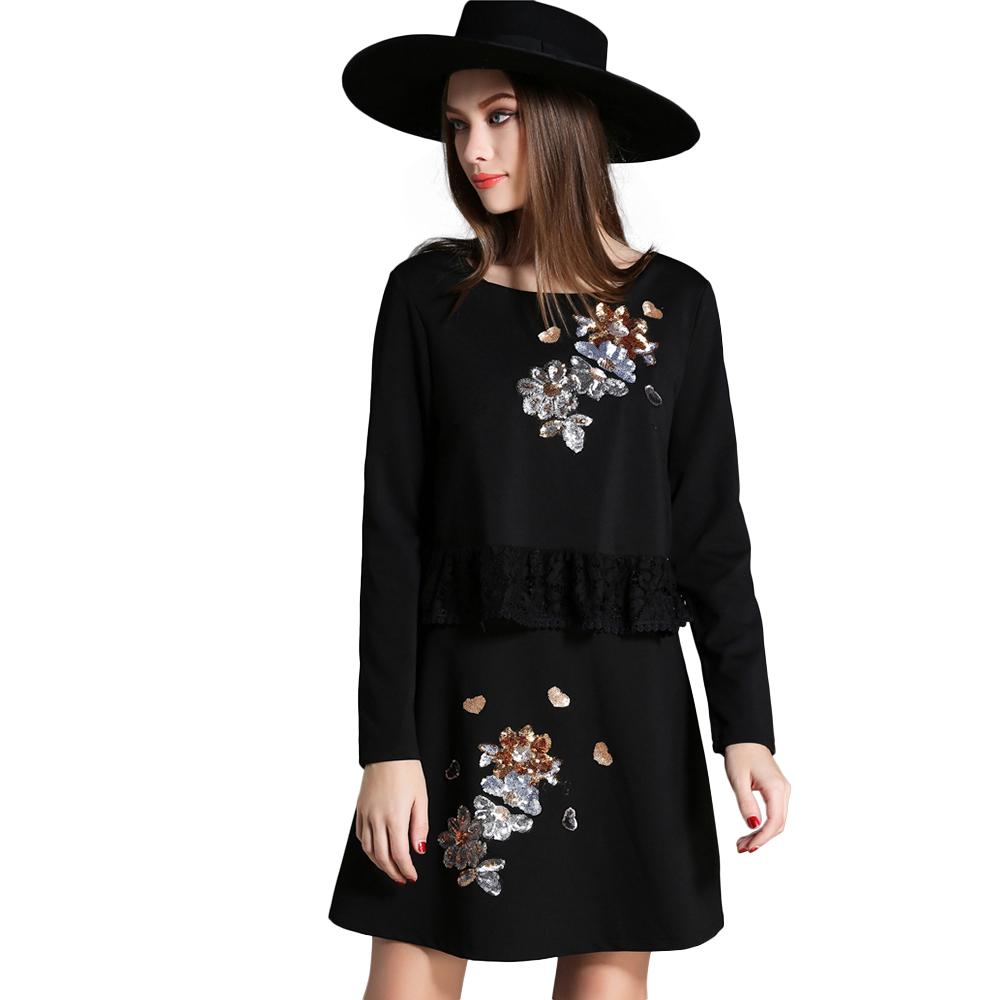 Autumn New Black Dress Woman Straight Long Sleeve Mini Dress Paillette Florals Ruffles Waist Vestidos(China (Mainland))