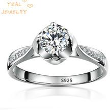 Genuine 925 Sterling Silver Jewelry CZ Diamond Ring Wedding Rings For Women Clear Stone Vintage Wholesale Bijoux SCY074