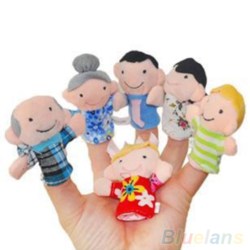 6PCS Baby Kids Plush Cloth Play Game Learn Story Family Finger Puppets Toys Set 2KG6(China (Mainland))