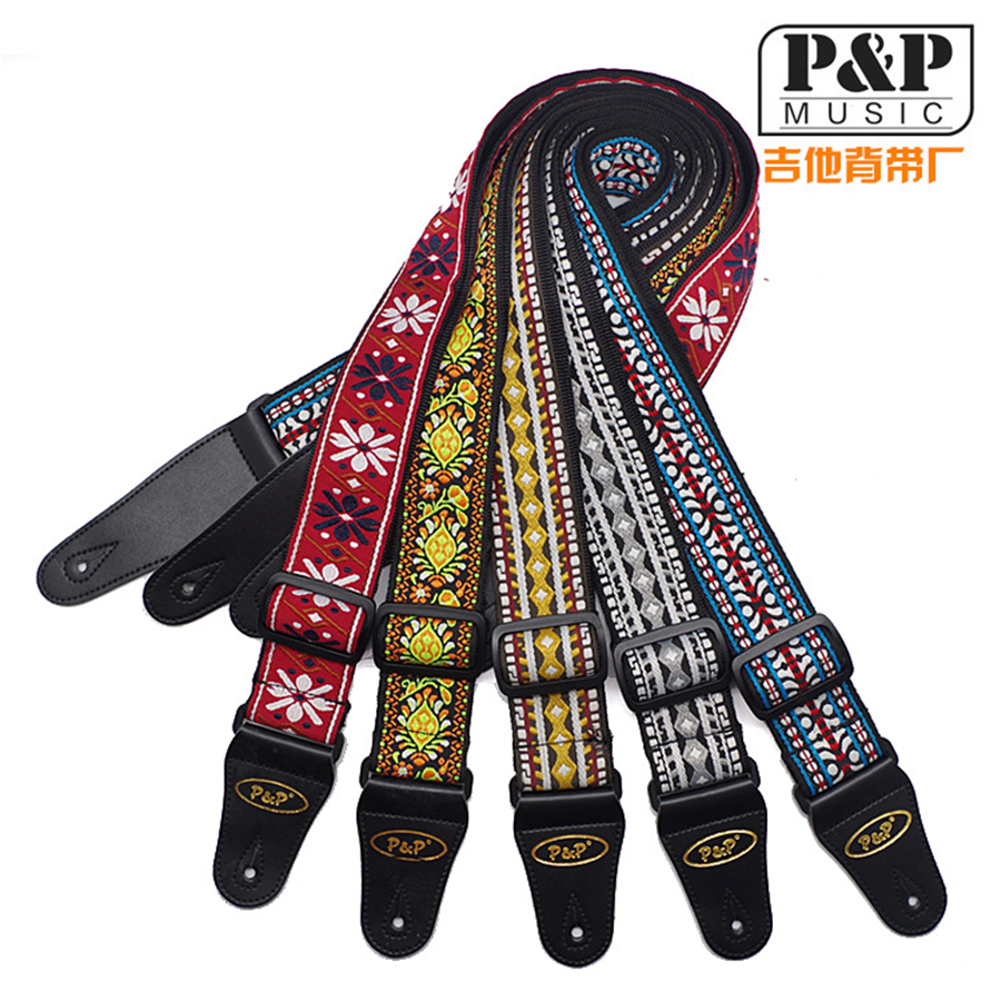 P&P China Embroider Acoustic Electric Dacron Guitar Strap 150cm For Electric Wound Bass Guitar brand strap(China (Mainland))