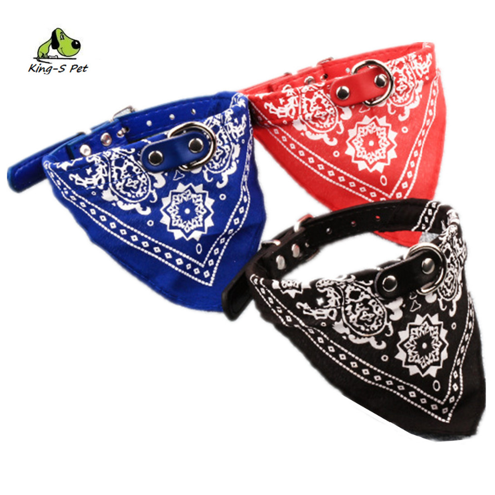 Dog Collar Scarf Collar PU Leash Cotton Material Printed High Quality All Seasons Comfortable Washable No Deformation Size S-XL(China (Mainland))