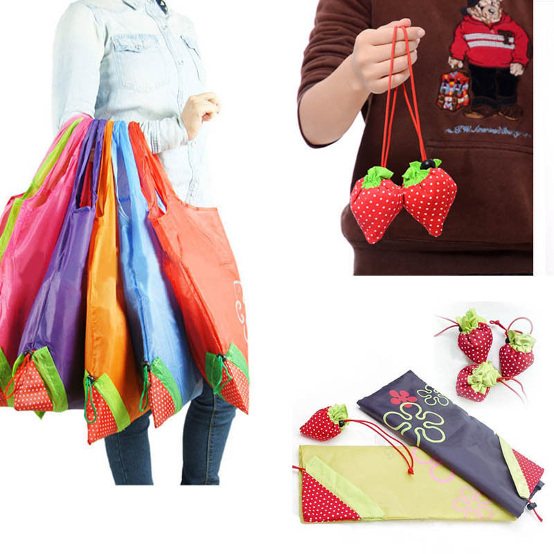 100pcs/lot Piece Eco Storage Handbag Strawberry Foldable Shopping Tote Reusable Bags 8 colors Free shipping(China (Mainland))