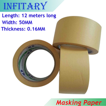 0.16mm 50mm 12M Length High Temperature Masking Tape Platform Viscosity Wrinkless Adhesive Paper Hot Bed Tape For 3D Printer