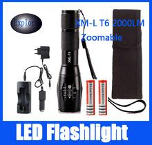 CREE XML T6 5 Modes 2000 Lumens Led Flashlight Camping Lantern Torch Lamp Hunting Lamps Tactical Light +18650 Battery+Charger(China (Mainland))