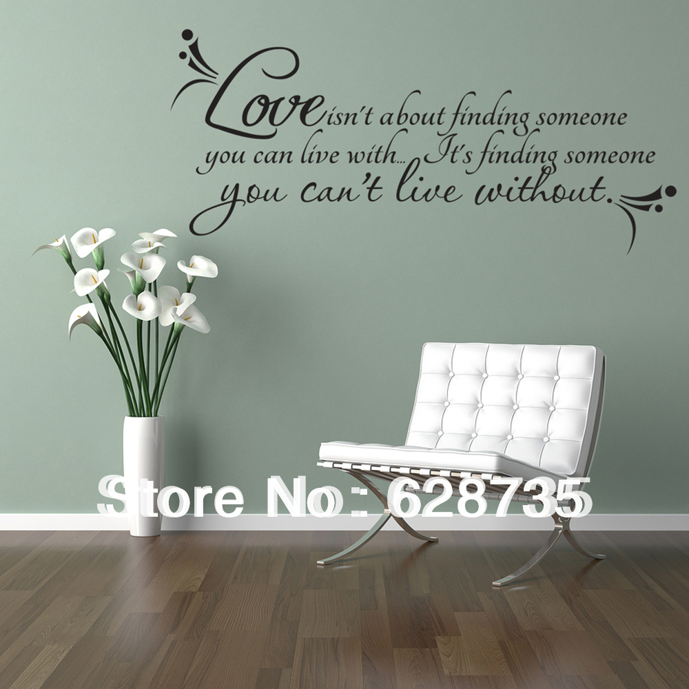 Love wall quotes decal room decor love isn 39 t about for Decor quotes