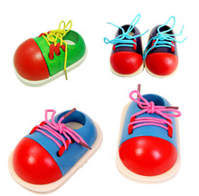 2016 hot sale montessori baby Early Learning Wooden toys Tie shoes teaching aids Infant Development Educational Toys(China (Mainland))