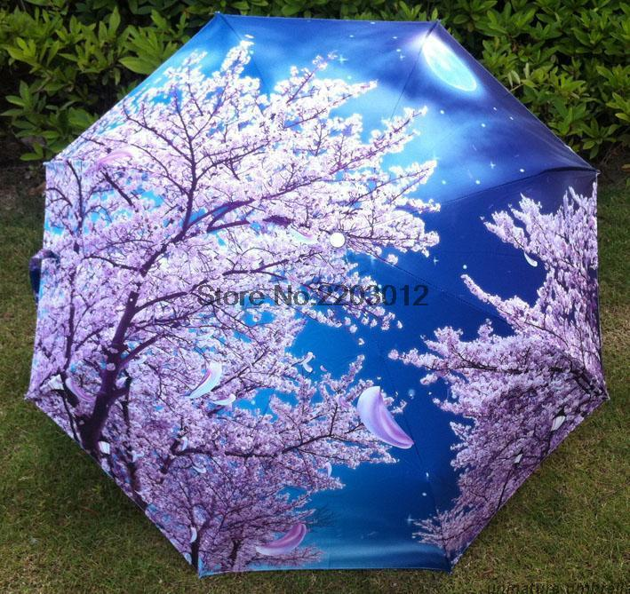 2015 Free shipping Traditional Chinese Oil Painting Umbrella For women Anti-uv 3 Folding Animal Umbrellas cherry blossom flowers(China (Mainland))