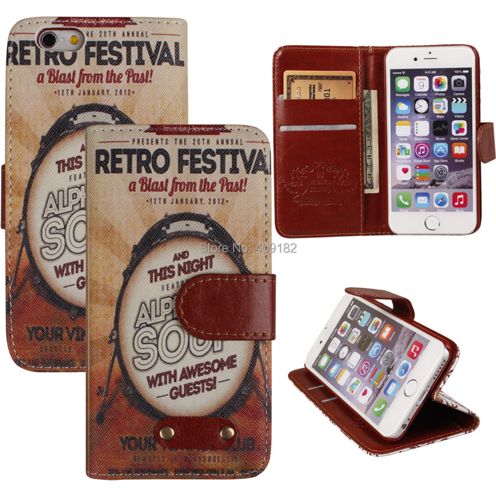 Здесь можно купить  10Pcs/lot  Deluxe Leather Retro Style Wallet Card Holder Stand Case Cover for iPhone 6 (4.7