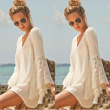 Women Vintage Hippie Boho Bell Sleeves Gypsy Festival Holiday Lace Mini Dress (China (Mainland))