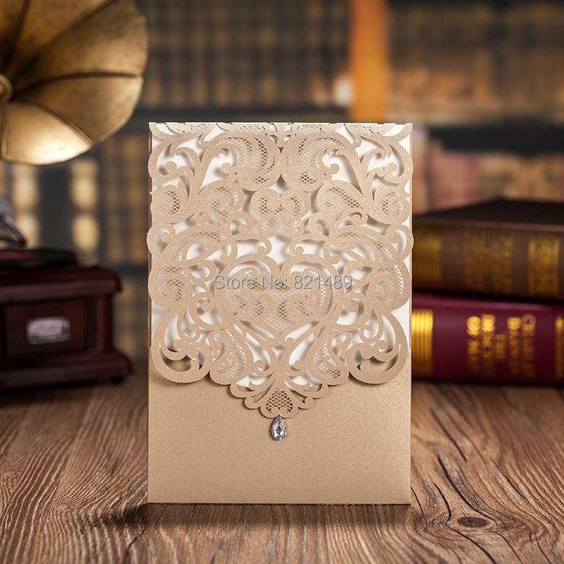 2015 New Design Pocket Golden Luxurious Wedding Invitation Cards Set 5 - Custom store