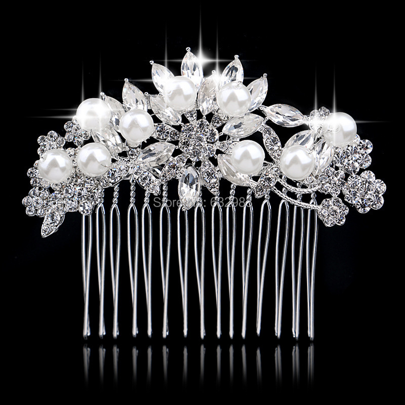 Diamante Silver Austrian Crystal Pearl Flower Wedding Tiara Bridal Hair Combs Handmade Women Party Accessories - CocoYing-Jewelry store