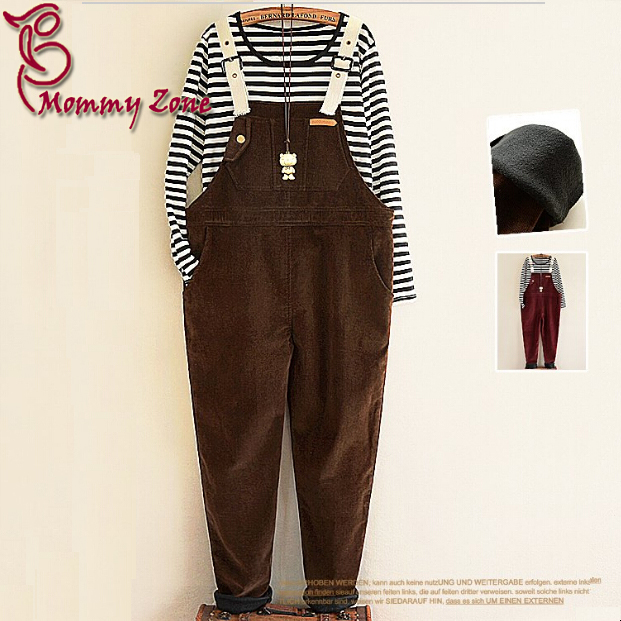 Mommy Zone For Maternity Bib Pants Autumn and Winter Plus Velvet Thermal Maternity Suspenders(China (Mainland))