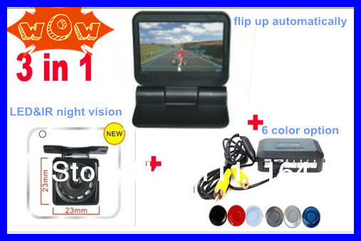 "2ch Video 5"" Foldable Lcd monitor automatical flip +infrared LED 10 Camera HD Night Vision Camera+4sensor Parking Assistance(China (Mainland))"