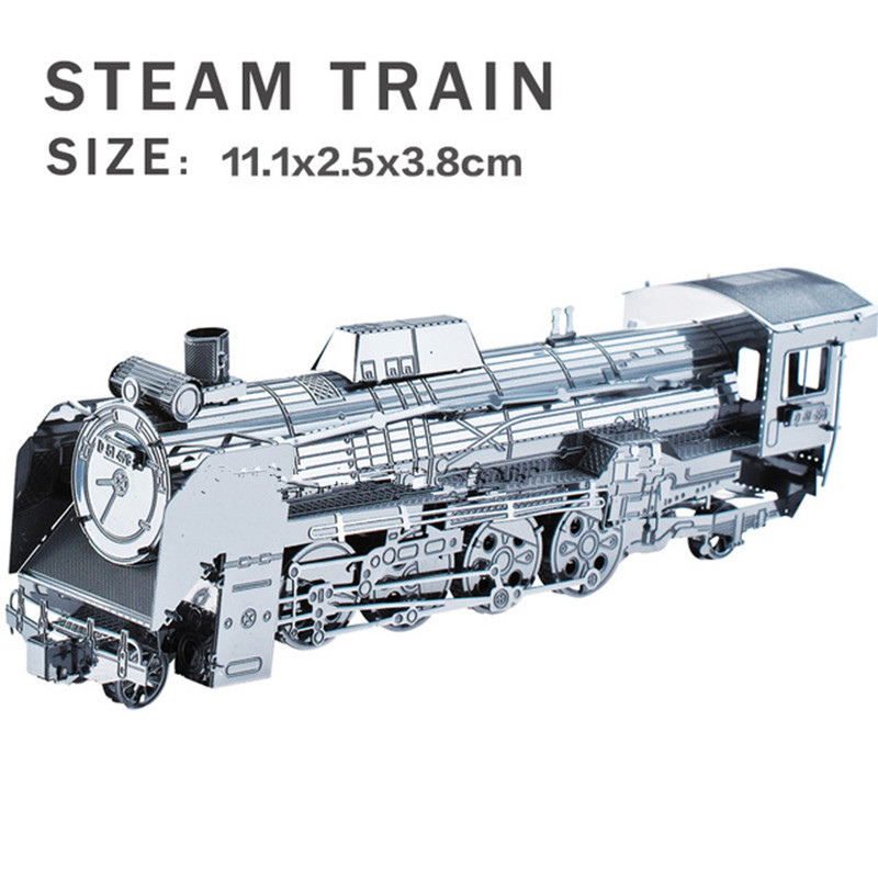 Real details New creative Railway engine 3D puzzles 3D metal model DIY Steam locomotive Jigsaws Children gifts toys Retro Train(China (Mainland))