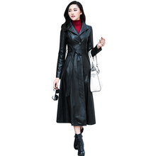 Women Black Maxi Leather Jacket 2015 Autumn Winter New Plus Size Single Breasted Long PU Leather Trench Coats 1672(China (Mainland))