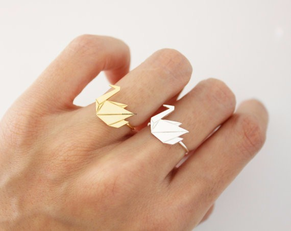 Origami Crane, Swan adjustable ring in gold