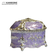Gohide Europe Style Valentine's Day Presents Home Accessories Jewelry Box Purple Silver Metal Lacquer Round Storage Box(China (Mainland))
