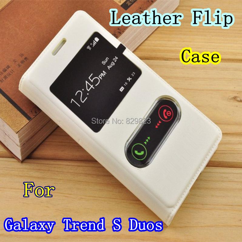 Гаджет  Free shipping For Samsung galaxy Trend Duos S7562 S7580 S7560  Leather case S View window Flip Cover case None Телефоны и Телекоммуникации