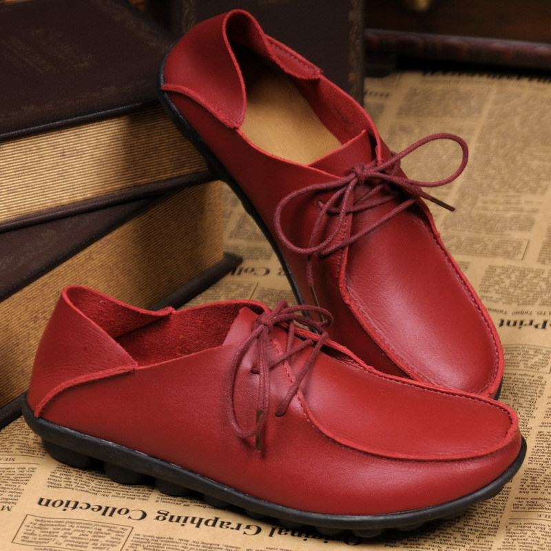 2015 new spring women flats shoes Genuine leather casual single flat heel loafers gommini cow muscle plus size - All-New Market store