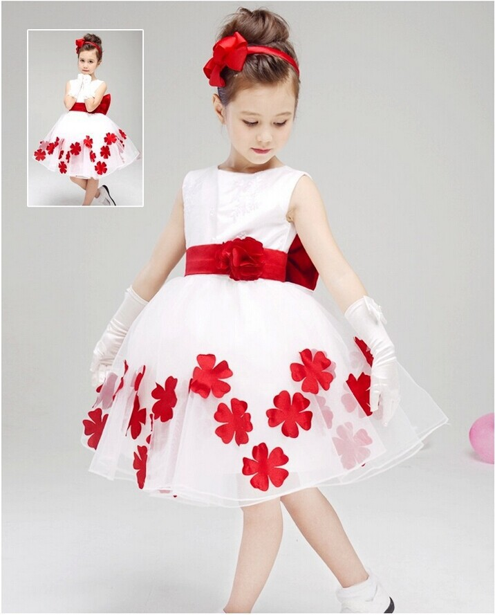 2015 new European and American children's clothing / girl in white wedding dress / princess dress / Free Shipping(China (Mainland))