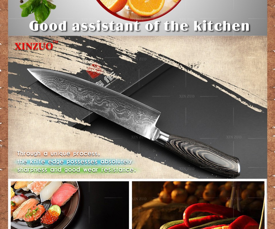"Buy 8"" inch chef knife 73 layers Japan Damascus steel kitchen knife with Color wood handle high quality sharp knife free shipping cheap"