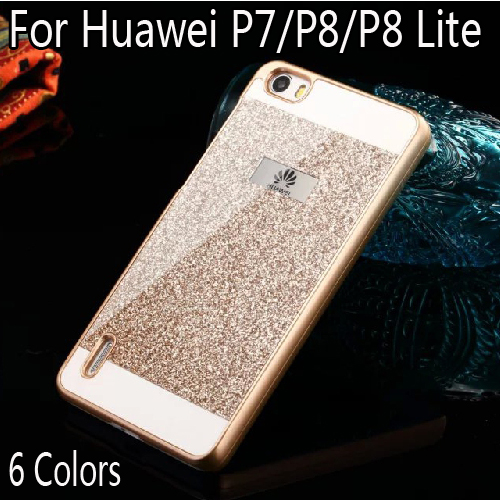 Bling Luxury phone case for Huawei P8 lite/P8/P7 Shinning Protective back cover for Huawei Ascend P8 P7 P8lite Sparkling shell(China (Mainland))