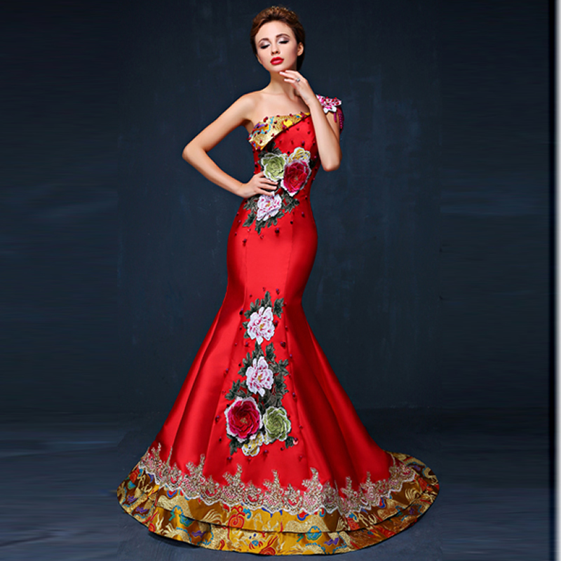 Mermaid Evening Dress 2016 Elegant Luxury Embroidery Qipao