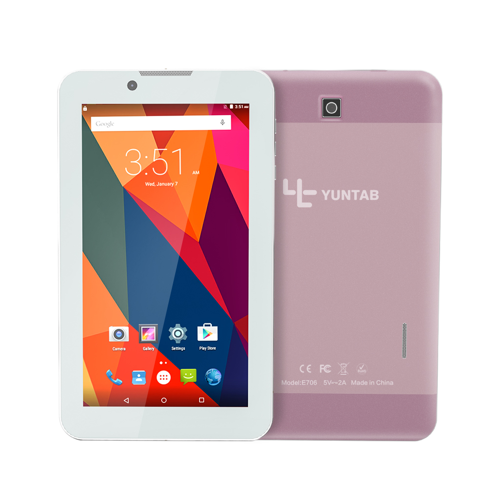 Yuntab 7 inch Alloy Tablet PC E706 Android 5.1 Quad Core 1G+8G with normal size SIM Card Cell phone Dual Camera(rose gold)(China (Mainland))