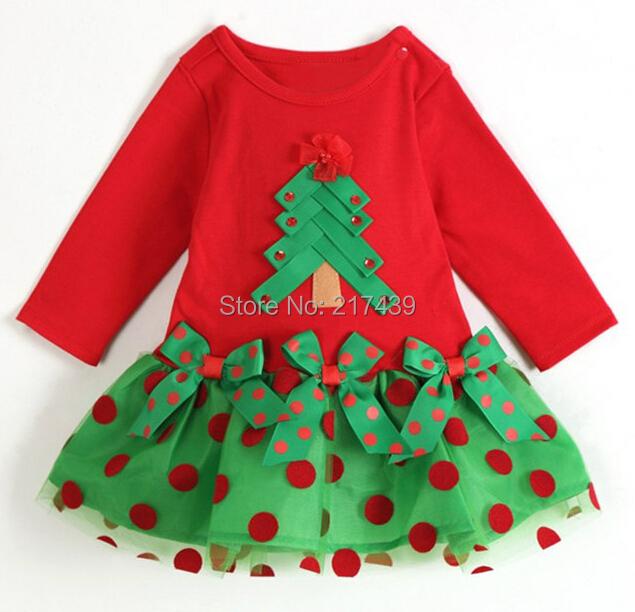 Kids baby clothing childrens Christmas Xmas Tree girls dress Long sleeved dresses red green dress with polka dot(China (Mainland))