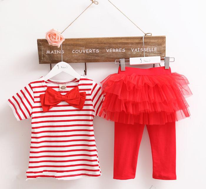 Atacado verão novo meninas chegada ocasional 2 pcs conjuntos de roupas listradas T-shirt vestido de renda conjuntos de roupas de moda A0958 5 pçs/lote(China (Mainland))