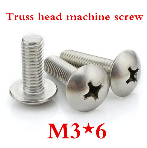 200PS/LOT High Quality Stainless Steel M3*6 Cross Recessed Truss Head Screw<br><br>Aliexpress