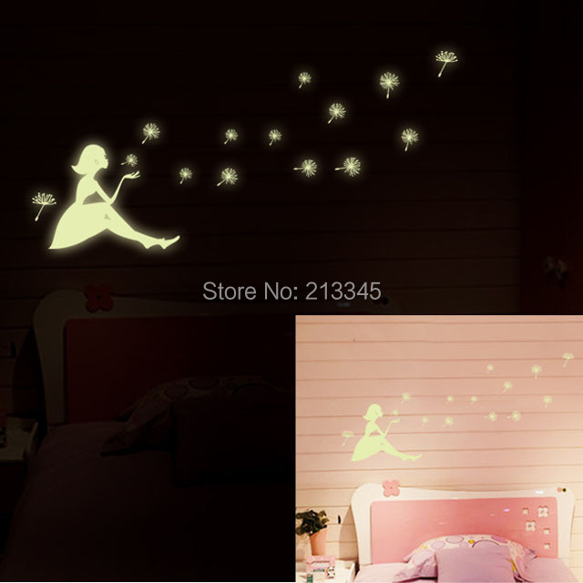 [Saturday Mall] - glow in the dark home decor wall sticker decals kids baby gift DIY luminous dandelion Girl Stickers 0062(China (Mainland))