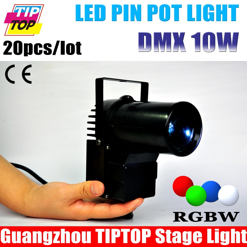 20pcs lot Black Case 10W Cree 4IN1 LED Pinspot Light DMX 512 RGBW Eliminator Lighting Multi