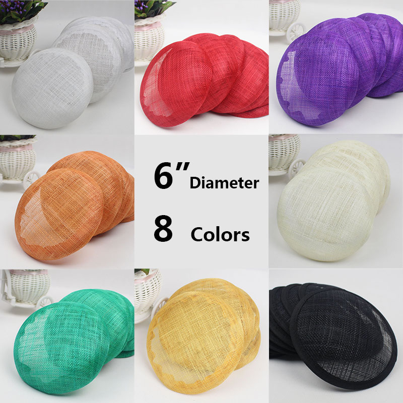 Wholesale 12pcs/lot 6 inches 8 Colors Sinamay Fascinator Base/ Wedding Party DIY Hair Accessories Women Fascinator Hat Base(China (Mainland))