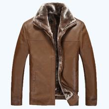 2016 Free Shipping Men Jacket Leather New Style Fur collar Sheep Skin Slim Fit Winter Warm Genuine Leather Jacket Men Jacket 350(China (Mainland))
